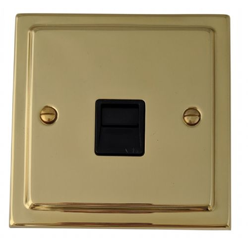 G&H TB34B Trimline Plate Polished Brass 1 Gang Slave BT Telephone Socket